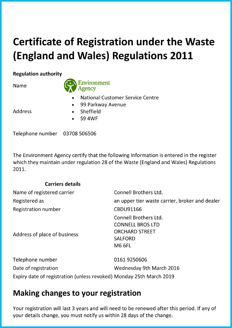Environment Agency Licence